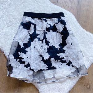 Tobi White Floral Skirt with Black Slip